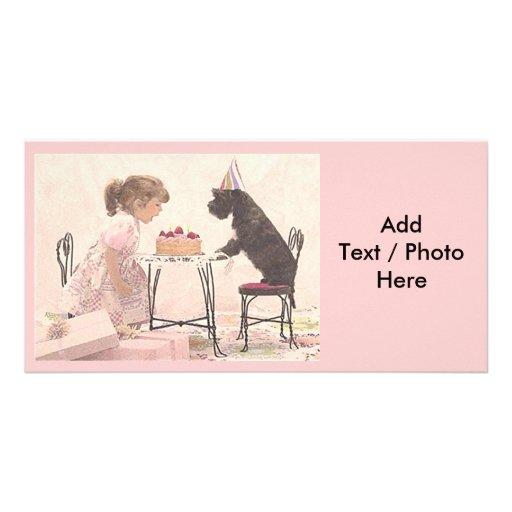 Little Girl & Dog Celelbration Custom Photo Card