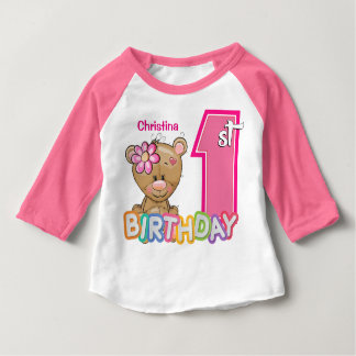 Little Girl First Birthday Teddy Bear Tshirts
