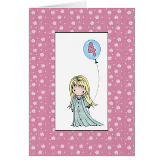 Little Girl Four Year Old Birthday Card