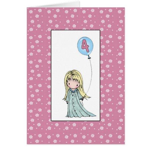 Little girl four year old birthday card zazzle