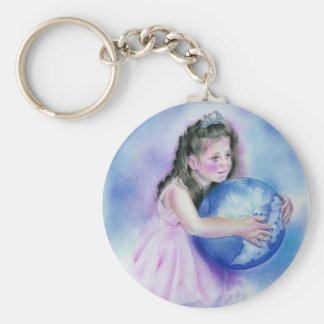 Little Girl Holding  Globe Earth Keychain