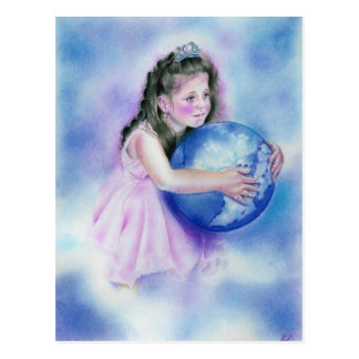 Little Girl Holding  Globe Earth Postcard