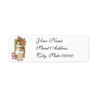 Little Girl Holding Poinsettia Vintage Christmas Return Address Label