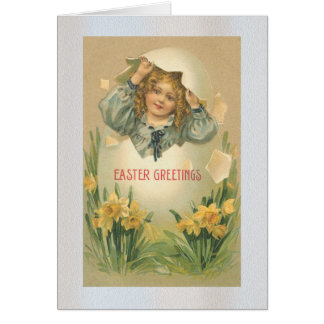 Little Girl in a Egg Card
