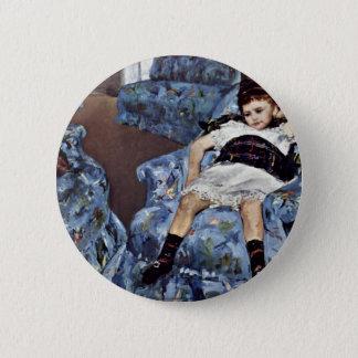Little Girl In Blue Armchair By Cassatt Mary (Best 2 Inch Round Button