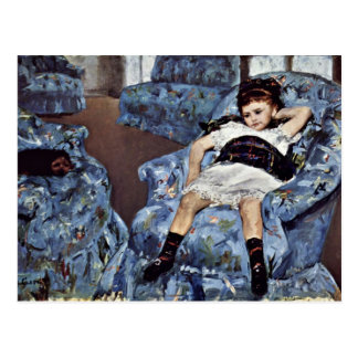 Little Girl In Blue Armchair By Cassatt Mary (Best Postcard