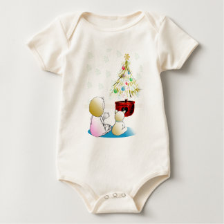 Little Girl in Nightgown Christmas Eve Baby Bodysuit