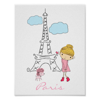 Little Girl in Paris Poster personalized