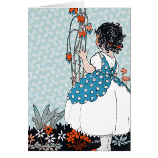 Little Girl in Pinafore by Pretty Flowers Card