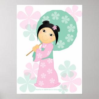 Little Girl Kimono Poster