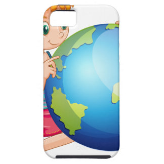 Little girl looking at the globe iPhone 5 cases