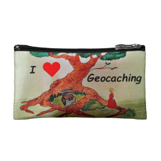 Little girl loves geocaching cosmetic bag