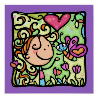 Little Girl meets a Butterfly.Purple sq print
