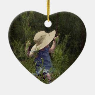 Little Girl on a Swing Ceramic Heart Ornament