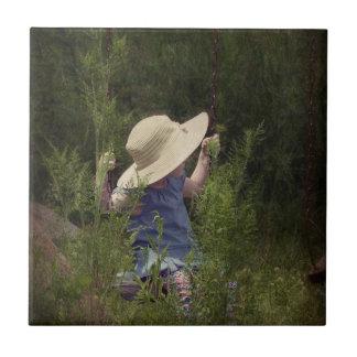 Little Girl on a Swing Ceramic Tiles