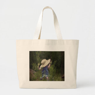 Little Girl on a Swing Large Tote Bag