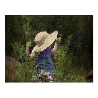 Little Girl on a Swing Postcard