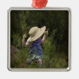 Little Girl on a Swing Silver-Colored Square Ornament