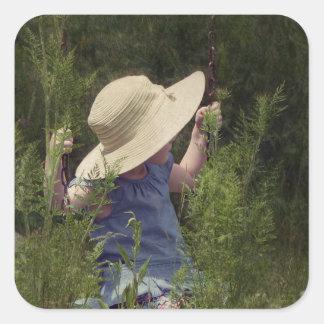 Little Girl on a Swing Square Sticker