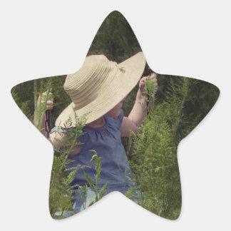 Little Girl on a Swing Star Sticker