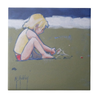 Little Girl on Beach Playing in Sand Tile