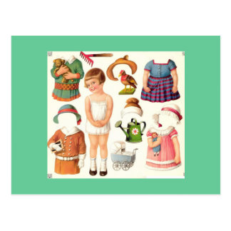 Little Girl Paper Doll Postcards
