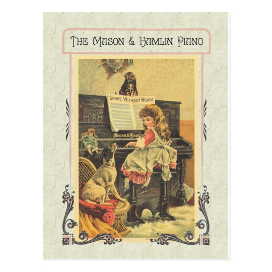 Little Girl Playing Piano to Dog Postcard