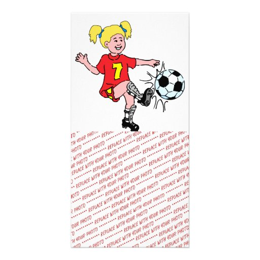 Little Girl Playing Soccer Picture Card