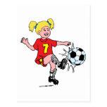 Little Girl Playing Soccer Postcards