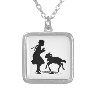 Little Girl Plays with Lamb Silver Plated Necklace