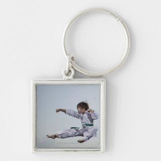 Little girl practicing karate Silver-Colored square keychain