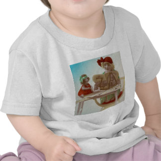 Little Girl Reading to Her Dollie - Vintage Card Tshirt