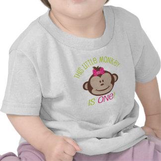 Little Girl s Mod Monkey 1st Birthday Shirt