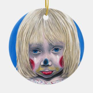 Little Girl Sad Clown Round Ceramic Ornament
