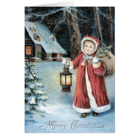 Little Girl Santa Card