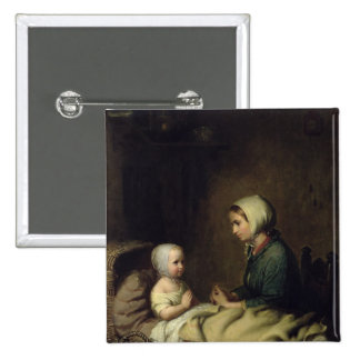 Little Girl Saying Her Prayers in Bed 2 Inch Square Button