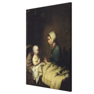Little Girl Saying Her Prayers in Bed Canvas Print