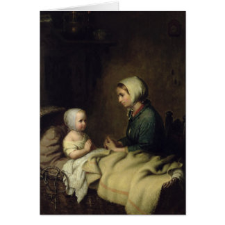 Little Girl Saying Her Prayers in Bed Greeting Card