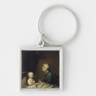 Little Girl Saying Her Prayers in Bed Keychains