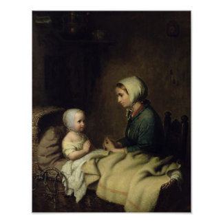 Little Girl Saying Her Prayers in Bed Poster