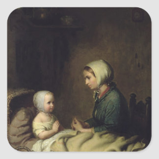 Little Girl Saying Her Prayers in Bed Square Sticker