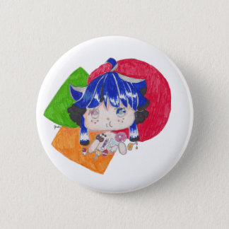 little girl snacking 2 inch round button