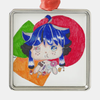 little girl snacking Silver-Colored square ornament