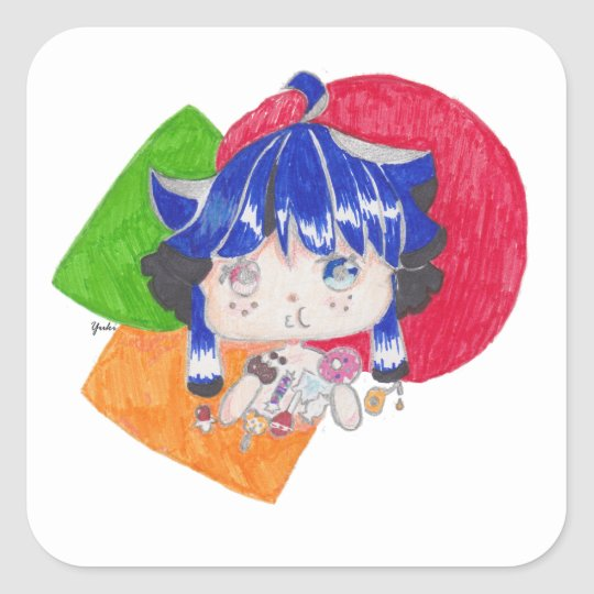 little girl snacking square sticker