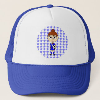 Little Girl Soccer Star Blue Brown Hair Trucker Hat