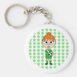 Little Girl Soccer Star Green Red Hair Keychain