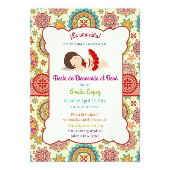 Little Girl Spanish Dress Colourful Baby Shower Card