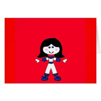 Little Girl Stick Family Card