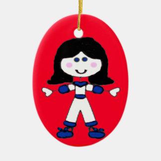 Little Girl Stick Family Ceramic Oval Ornament