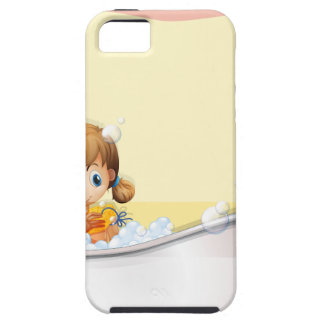 Little girl taking a bath iPhone 5 cover